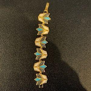 Lotus Bracelet (White and Turquoise)